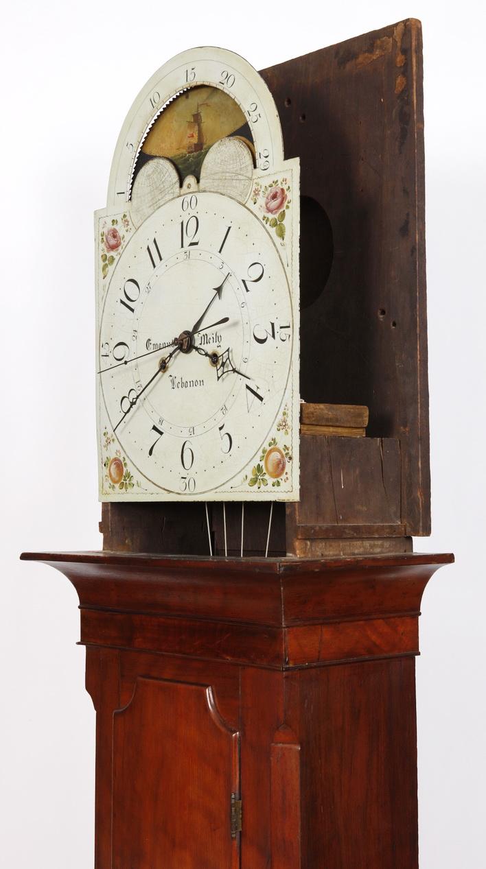 Emmanuel Meily Lebanon Pa Cherry Sheraton Tall Case Clock
